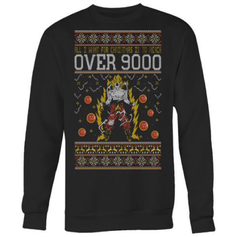 Super Saiyan - Over 9000 - Unisex Sweatshirt T Shirt - SSID2016