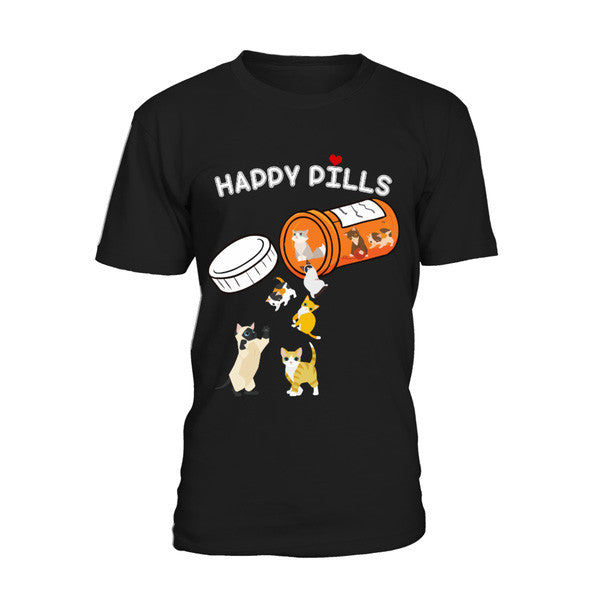 Cat - Happy Pills -Men Short Sleeve T Shirt - SSID2016