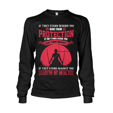 One Piece - If they stand behind you give them protection zoro version -Unisex Long Sleeve - SSID2016