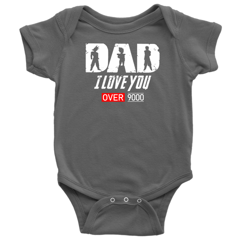 Super Saiyan Goku Vegeta Gohan Dad I Love You Over 9000 Baby Bodysuit - TL01707BB