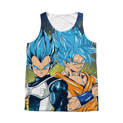 Super Saiyan - Goku & Vegeta SSj Blue Smile - 1 Sided 3D tank top t shirt Tank - TL01173AT