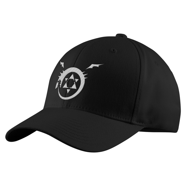 Fullmetal Alchemist Ouroboros White Symbol Structured Twill Cap - PF00339TC - The TShirt Collection