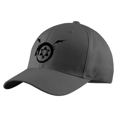 Fullmetal Alchemist Ouroboros Black Symbol Structured Twill Cap - PF00338TC - The TShirt Collection