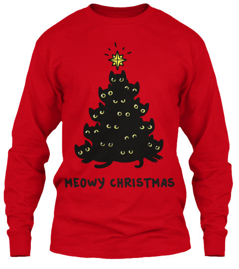 Christmas Long Sleeve- Meowy Christmas -Unisex  Long  Sleeve - The TShirt Collection