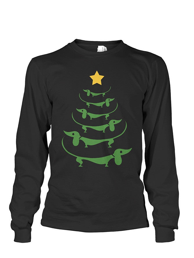 Christmas Long Sleeve- Dachshund Tree -Unisex Long Sleeve - The TShirt Collection