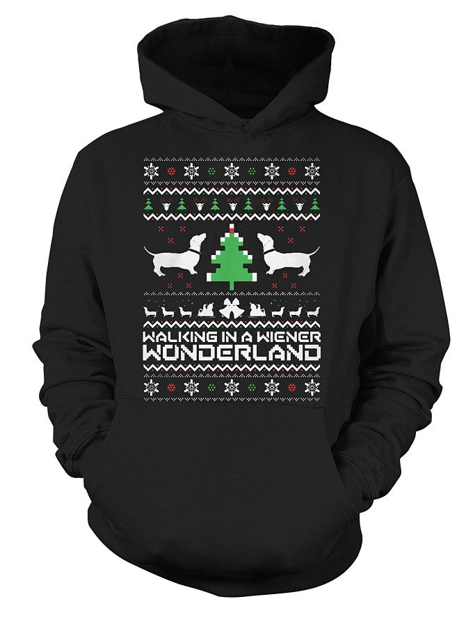 Christmas Hoodie- Working in a wiener wonderland -Unisex Hoodie - The TShirt Collection