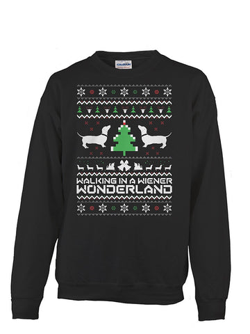 Christmas Sweatshirt- Walking in a wiener wonderland -Unisex Sweatshirt - The TShirt Collection