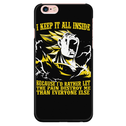 Super Saiyan - Vegeta i keep it all inside because i'd rather let the pain destroy me - Iphone Phone Case - TL01223PC