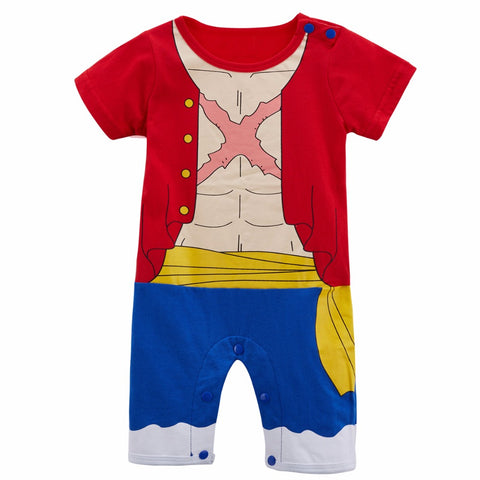 Baby Boy Romper One Piece Luffy Funny Costume Cute Toddler Playsuit Party Gift 0-24M