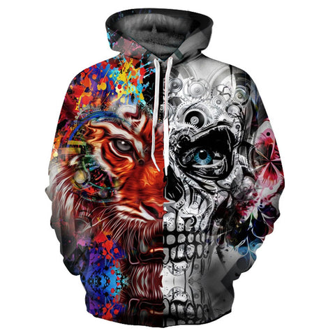 New Fashion 3d Print Skulls Tiger Thin Hooded Hoodies Tracksuits Hoody Tops