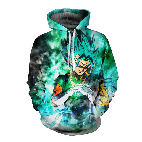 Super Saiyan God Blue Rose Hair Vegeta Vigito Print Autumn Winter Coat
