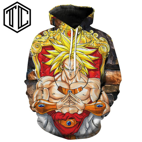 Super Saiyan Broly Cosplay Hooded Hoodies Fashion Autumn Tracksuits Male Hoody Outerwear