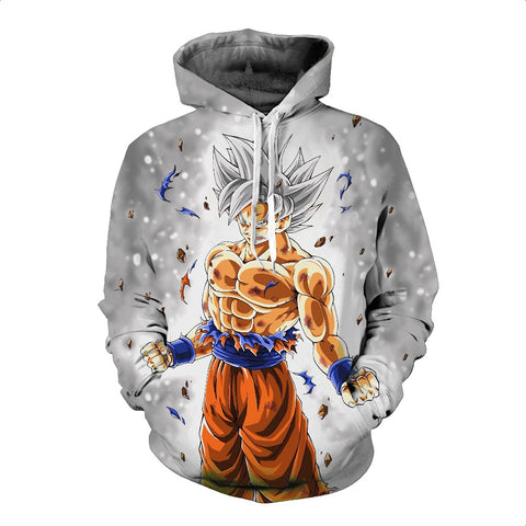 Dragon Ball Super Master Ultra Instinct Silver White Super Saiyan Son Goku Hoodies