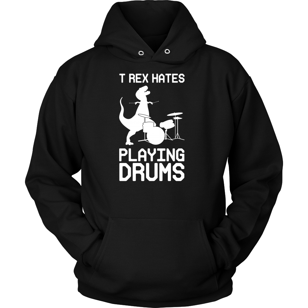 Dinosaur - T-Rex Hates Playing Drums - Unisex Hoodie T Shirt - TL00861HO - The TShirt Collection