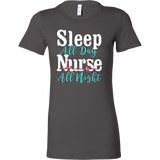Nurse- sleep all day nurse all night - women short sleeve t shirt-TL00870WS