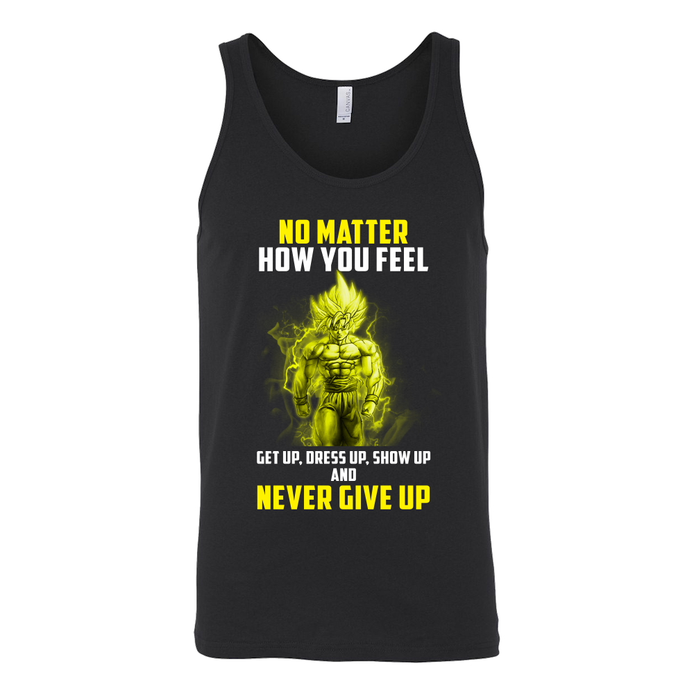 a6be77e19387b9 Super Saiyan - Goku Never give up - Unisex Tank Top T Shirt - TL01068TT