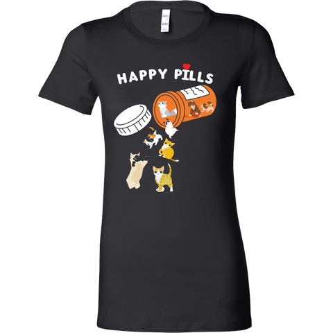 Cat - Happy Pills - Woman Short Sleeve T Shirt - TL01199WS