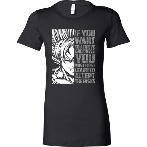 Super Saiyan Goku - If You Want To Achieve Greatness You Must First Learn To Accept The Risks - Woman Short Sleeve T Shirt - TL01247WS