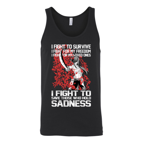Fairy Tail - I fight to save those who hold sadness  - Unisex Tank Top - TL01373TT