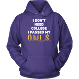 Harry Potter - I dont need college i passed my owls - unisex hoodie - TL00959HO
