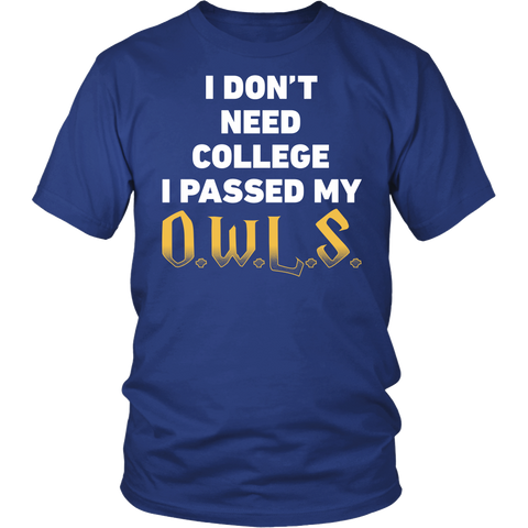 Harry Potter - I dont need college i passed my owls - men short sleeve t shirt - TL00959SS