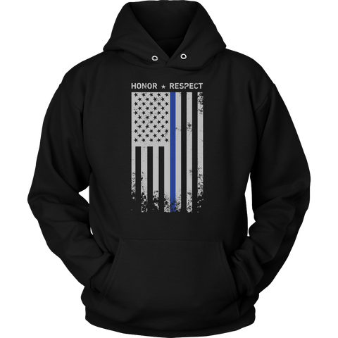 Threadrock Honor Respect Thin Blue Line Flag Flowy Racerback Unisex Hoodie T Shirt - TL00637HO