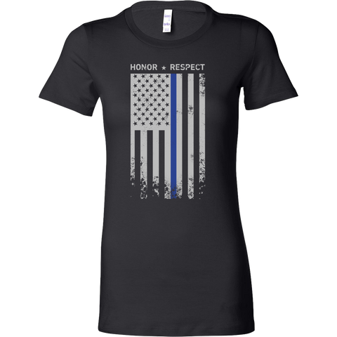 Threadrock Honor Respect Thin Blue Line Flag Flowy Racerback Woman Short Sleeve T Shirt - TL00637WS