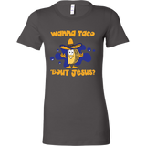 Taco mexican wanna taco 'bout jesus Woman Short Sleeve Funny T Shirt - TL00609WS