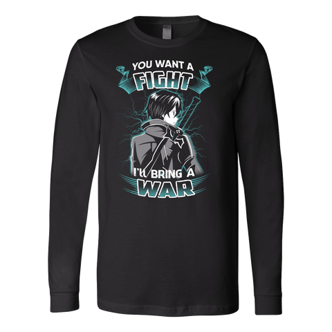 Sword art online - you want a fight i ll bring the war - Unisex Long Sleeve T Shirt - TL01193LS