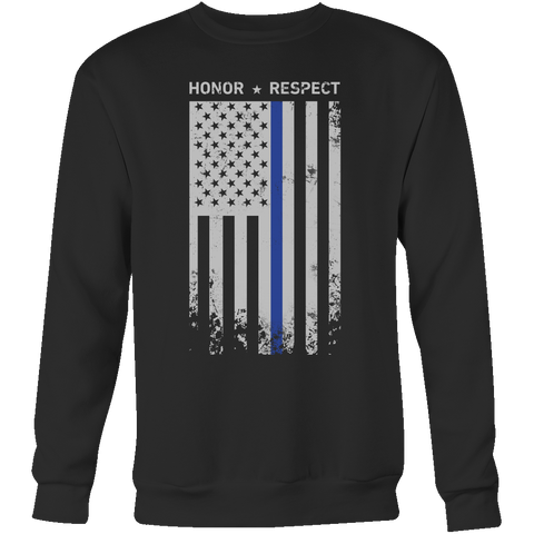 Threadrock Honor Respect Thin Blue Line Flag Flowy Racerback Sweatshirt T Shirt - TL00637SW