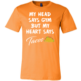 Taco mexican my head says gym but my heart say tacos Men Short Sleeve Funny T Shirt - TL00601SS