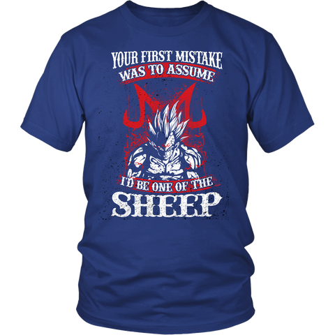 Super Saiyan Majin Vegeta - Your First Mistake Was To Assume I'd Be One Of The Sheep - Men Short Sleeve T Shirt - TL01236SS - Front