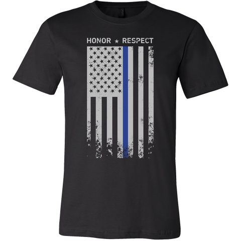 Threadrock Honor Respect Thin Blue Line Flag Flowy Racerback Men Short Sleeve T Shirt - TL00637SS