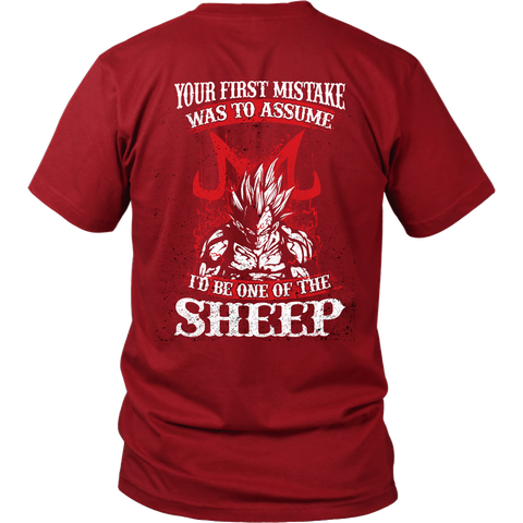 Super Saiyan Majin Vegeta - Your First Mistake Was To Assume I'd Be One Of The Sheep - Men Short Sleeve T Shirt - TL01236SS