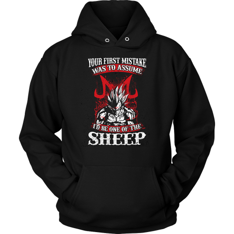 Super Saiyan Majin Vegeta - Your First Mistake Was To Assume I'd Be One Of The Sheep - Unisex Hoodie T Shirt - TL01236HO