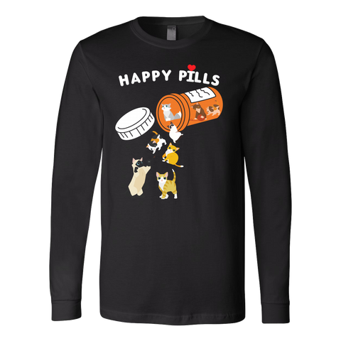 Cat - Happy Pills - Unisex Long Sleeve T Shirt - TL01199LS