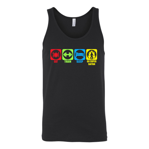 Super Saiyan - Eat, Train, Sleep, Go Super Saiyan - Unisex Tank Top T Shirt - TL01206TT