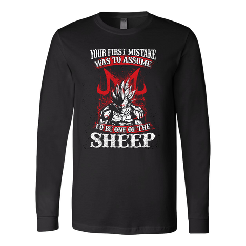 Super Saiyan Majin Vegeta - Your First Mistake Was To Assume I'd Be One Of The Sheep - Unisex Long Sleeve T Shirt - TL01236LS