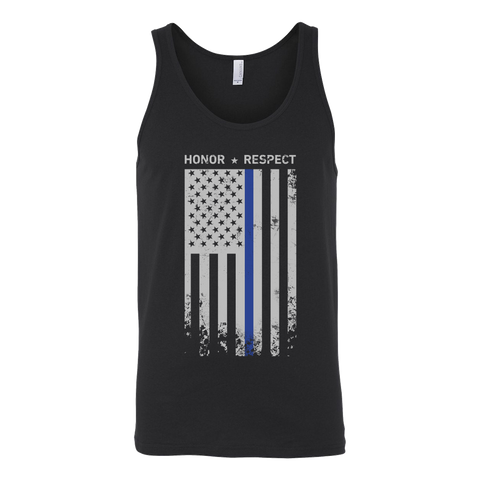Threadrock Honor Respect Thin Blue Line Flag Flowy Racerback Unisex Tank Top T Shirt - TL00637TT