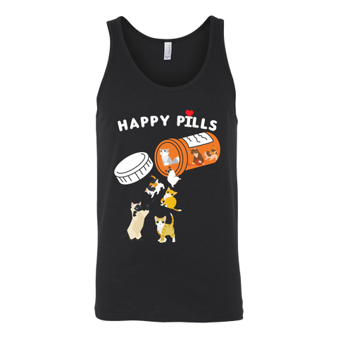 Cat - Happy Pills - Unisex Tank Top T Shirt - TL01199TT