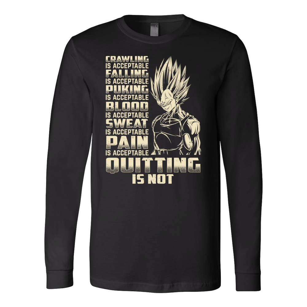 Super Saiyan Majin Vegeta Pain Is Acceptable Quitting Is Not Long Sleeve T shirt - TL00561LS