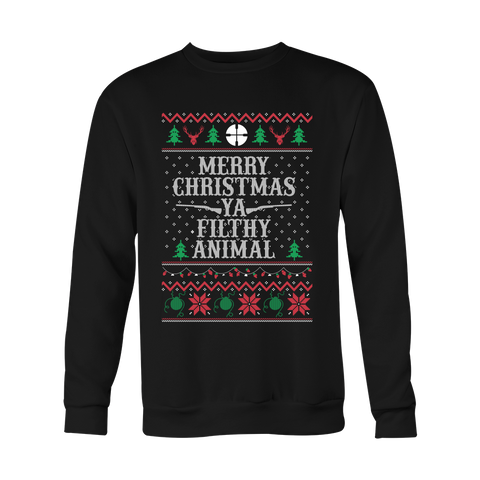 Christmas Sweatshirt - Merry Christmas Ya Filthy Animal - Unisex Sweatshirt T Shirt - TL01003SW