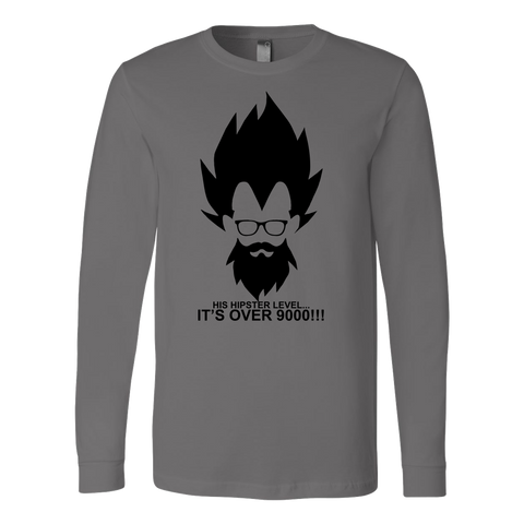 Super saiyan - His hipster lever is over 9000 - Unisex Long Sleeve T Shirt - TL01342LS