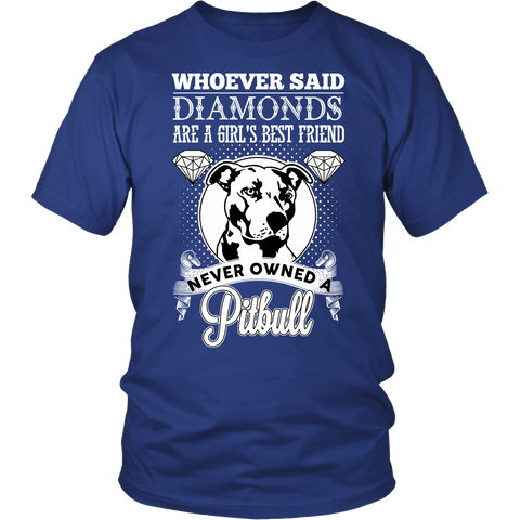 Pitbull Collection- Whoever said diamonds are a girl best friend never owned a pitbull  - Men Short Sleeve T Shirt - TL01356SS