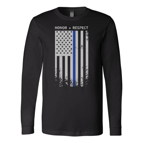 Threadrock Honor Respect Thin Blue Line Flag Flowy Racerback Long Sleeve T Shirt - TL00637LS