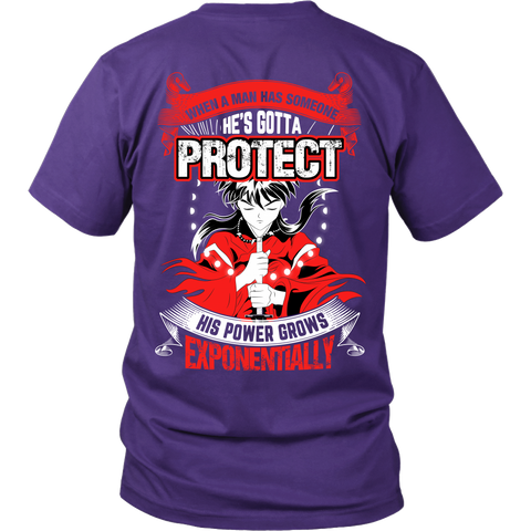 Inuyasha - When A Men Has Someone, He's Gotta Protect His Power Grows Expomentially - Back - Men Short Sleeve T Shirt - TL01332SS