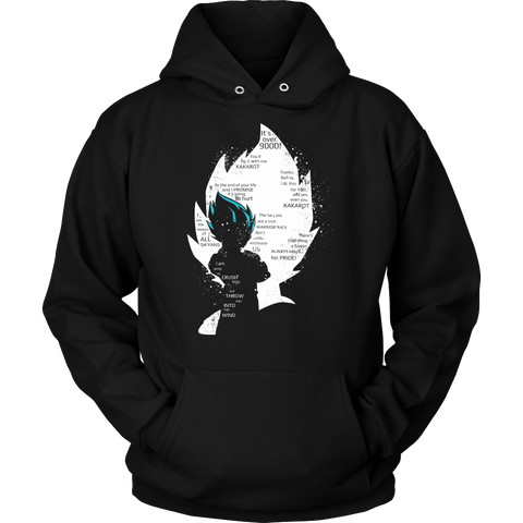 Super Saiyan  - Vegeta Blue with Quotes  - Unisex Hoodie - TL01415HO