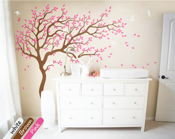 Large Tree Wall Decal with Birds Nursery Wall Sticker Mural Décor
