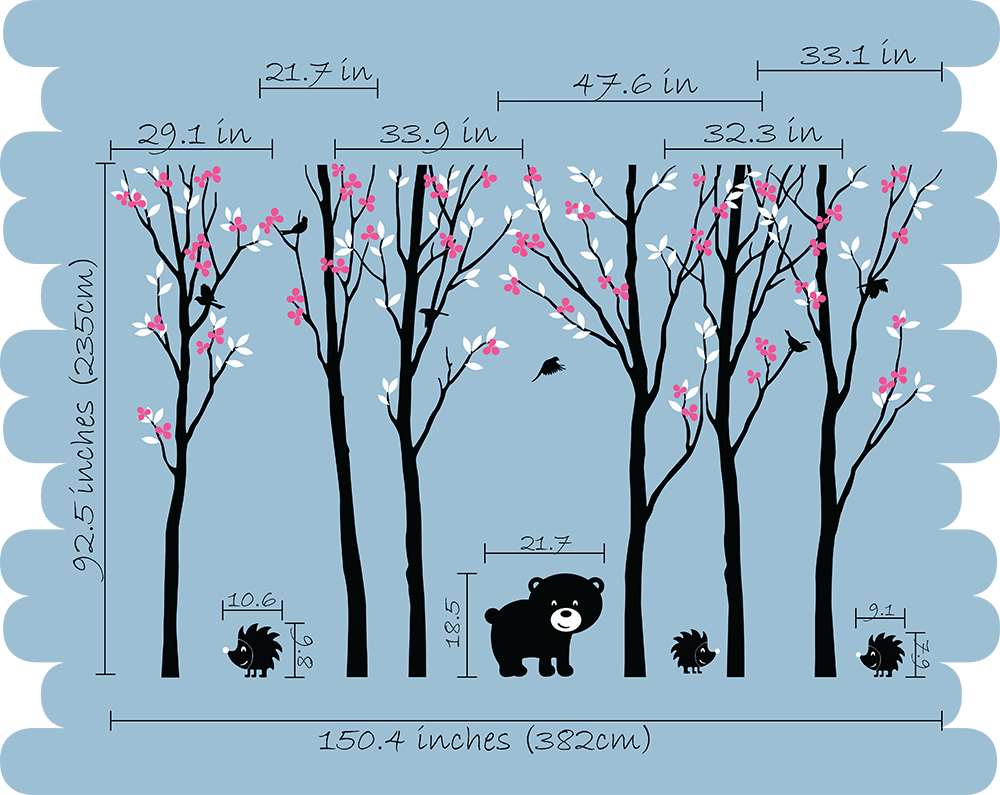 ... Black Tree Blossom Animals Wall Stickers Vinyl Decal Nursery Baby Kids  Decor ...