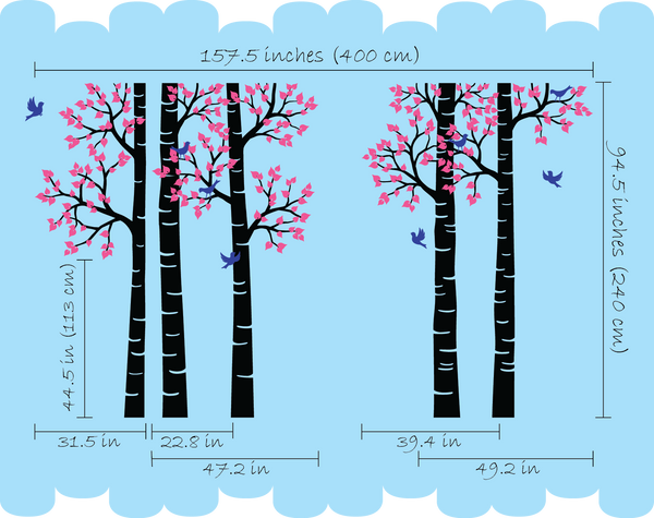 Brown Birch Tree Birds Vinyl Sticker Nursery Wall Decal